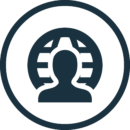 person in front of web portal icon