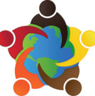Logo of people of various races embracing a globe